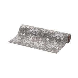 Běhoun role dekor vločky šedá/stříbrná 21cm