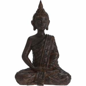 Buddha sedící polystone 31cm tmavě hnědý