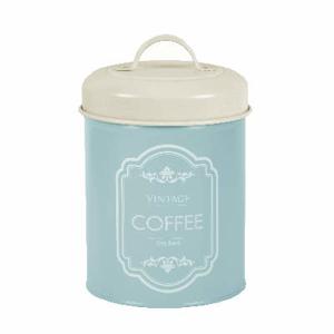 Dóza na kávu VINTAGE plech tyrkysová 21cm