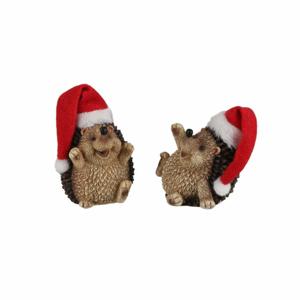 Ježek s vánoční čepicí polyresin 6,5cm mix