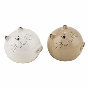 Kočka koule keramika bílá/hnědá 10cm