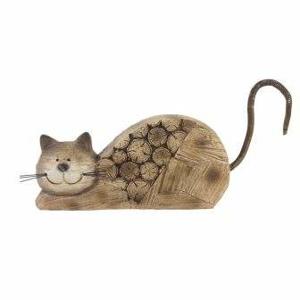 Kočka ležící dekor kulatina dřevo/kov hnědá 21,5cm