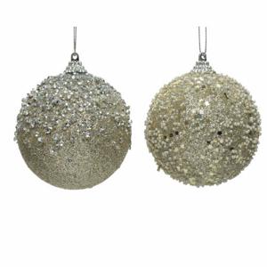 Koule pěnová drahokamy/perly s glitry mix šampaň 8cm