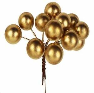 Koule plastové na drátku 24ks 1,5cm zlatá