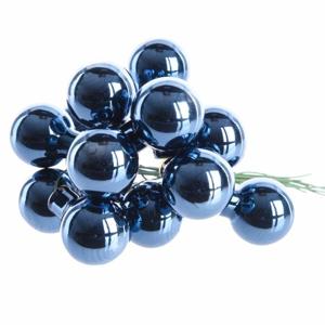 Koule skleněná na drátku svazek 12ks 2,5cm lesk tmavě modrá
