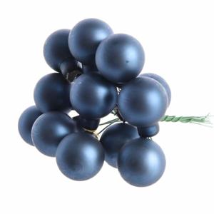 Koule skleněná na drátku svazek 12ks 2,5cm mat tmavě modrá
