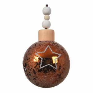 Koule skleněná s námrazou 8cm 3ks hvězdy hnědá mix barev světle hnědá