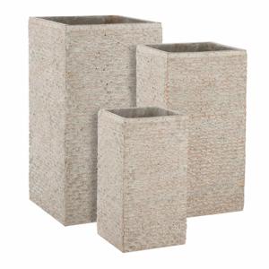Květináč FACETTO 70cm hranatý vysoký cementový