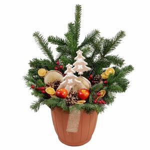Květináč ke dveřím Přírodní Vánoce s osvětlením