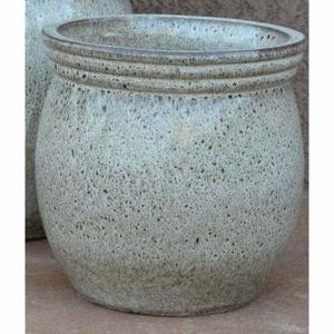 Květináč kulatý keramika glazovaný šedý 37cm