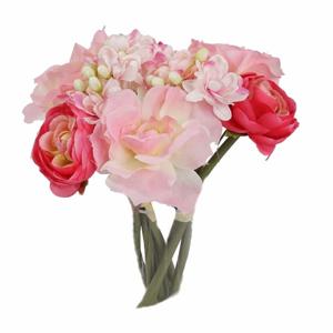 Květy buket mix umělý 20cm růžový