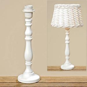 Lampa s dřevěným podstavcem 35cm bílá