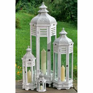 Lucerna ornamenty dřevo/kov/sklo bílá velká