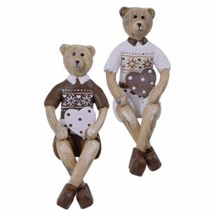 Medvěd dřevěný sedící 15,5cm mix barev