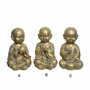 Mnich sedící polyresin mix zlatá 38,5cm