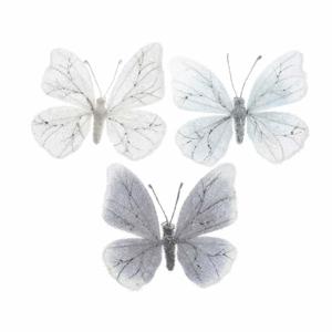 Motýl na klipu semišový zasněžený 10cm mix barev bílý