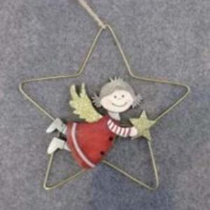 Ozdoba anděl dívka ve hvězdě dřevo/kov červená/zlatá 17cm