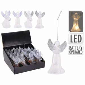 Ozdoba anděl svíticí LED plast baterie mix 11cm