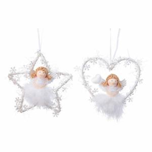 Ozdoba anděl v srdci nebo hvězdě peří a kov 14cm bílá
