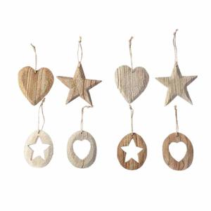 Ozdoba dřevěná hvězda nebo srdce 9cm mix barev a tvarů ovál s hvězdou bílý