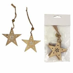 Ozdoba hvězda dekor vločka dřevo přírodní  2ks