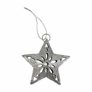 Ozdoba hvězda kovová s glitry děrovaná 7cm 2ks stříbrná