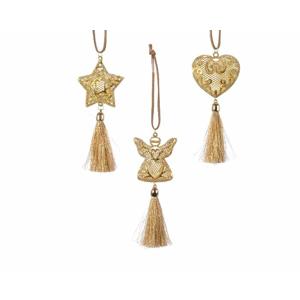 Ozdoba kovová hvězda, anděl nebo srdce s třásněmi 23cm zlatá