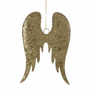 Ozdoba křídla kovová zlatá 24cm