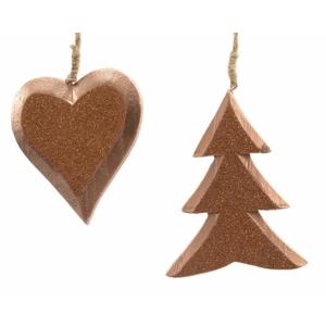Ozdoba srdce/strom dřevo mix