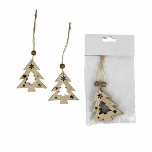Ozdoba strom dekor vločka/hvězda 2ks dřevo přírodní 6cm