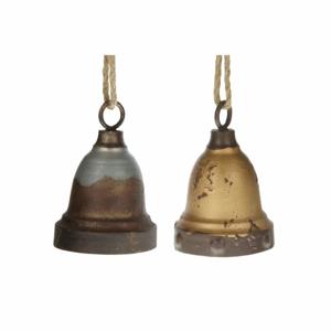 Ozdoba zvonek kovový s patinou mix 15cm