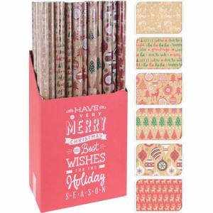 Papír balicí vánoční motiv hnědá/barevný potisk 2m