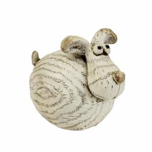Pes buclatý polyresinový 10cm béžový