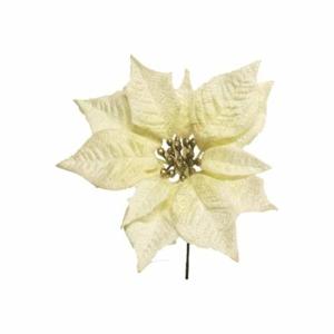 Poinsettia ANNELI květ umělá krémová 18cm
