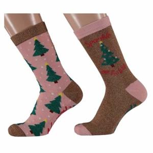 Ponožky dámské stromy 2ks vel.36-41 hnědá/růžová