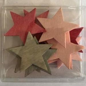 Přízdoba hvězda dřevo růžová/šedá mix 36ks