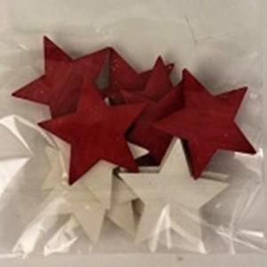 Přízdoba hvězda plná dřevo červená/bílá 36ks