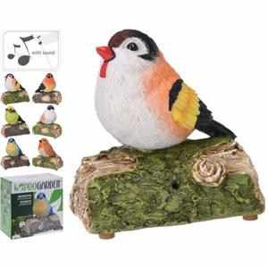 Pták na kmeni se zvukem polystone mix  13cm