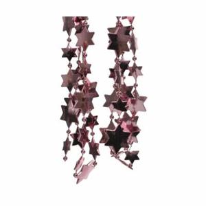 Řetěz perlový s hvězdami plast tm. růžový 270cm