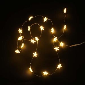 Řetěz svítící hvězdy 40microLED teplá bílá baterie 1,95m stříbrná