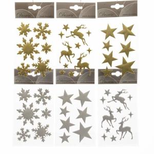 Samolepka vločky, hvězdy nebo jeleni mix barev F