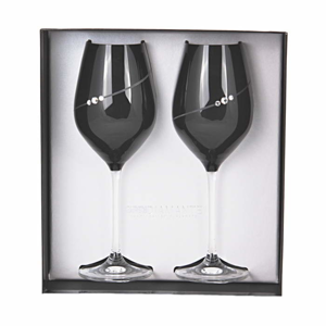 Sklenice na bílé víno DIAMANTE BLACK SILHOUTTE 2ks sklo