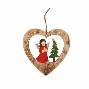 Srdce dekor anděl a strom dřevo 24cm