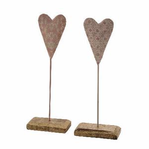Srdce na podstavci dekor ornement plech/dřevo mix 23cm