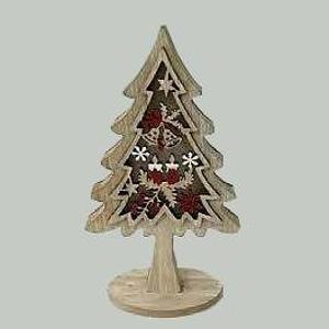 Strom dřevěný s vánočním motivem 25cm