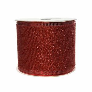 Stuha vánoční s drátkem polyester červená 2,7m
