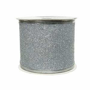 Stuha vánoční s drátkem polyester stříbrná 2,7m