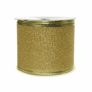 Stuha vánoční s drátkem polyester zlatá 2,7m