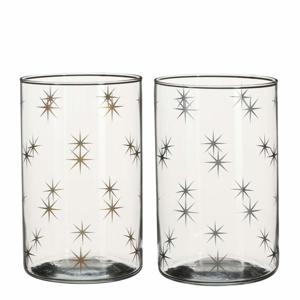 Svícen na čajovku dekor hvězdy sklo 17cm mix