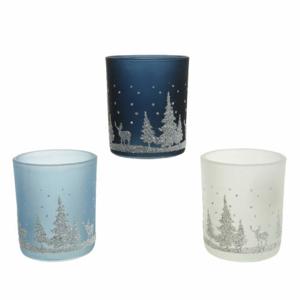 Svícen na čajovku dekor les a jelen sklo s glitry